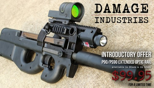 Damage Industries P90 or PS90 Extended Optic Rail