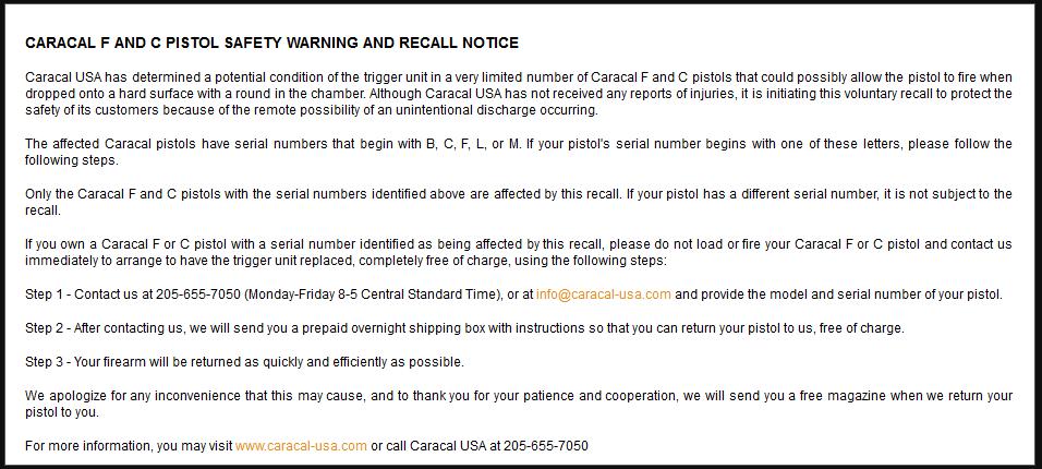 caracal recall