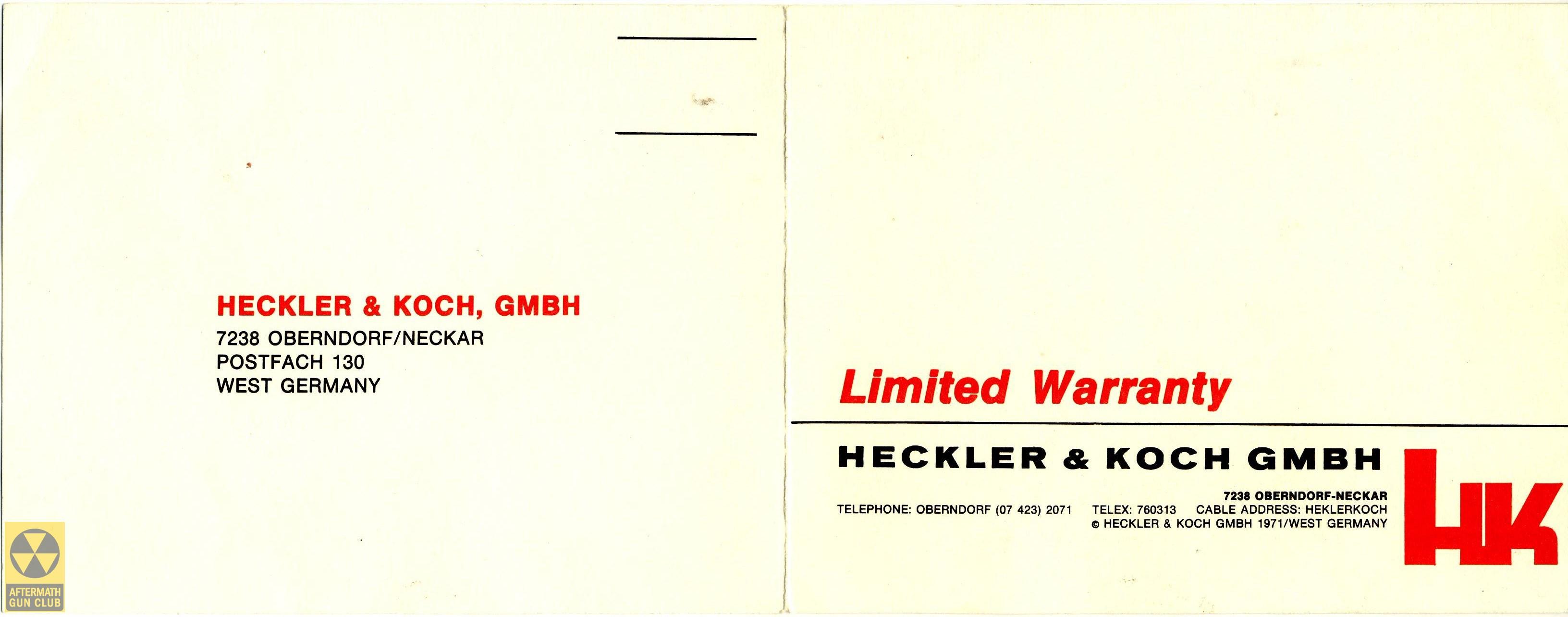 h&k hk91 warranty card