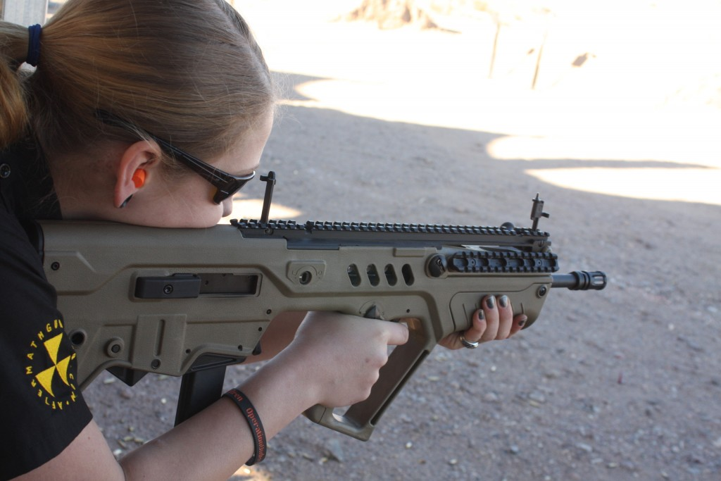 GunDoll with IWI Tavor SAR 9mm at SHOT Show 2014